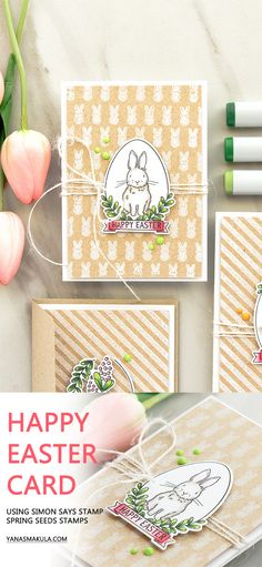 Stamp a beautiful Happy Easter card with Simon Says Stamp Spring Seeds stamp set. For details, visit http://www.yanasmakula.com/?p=57373