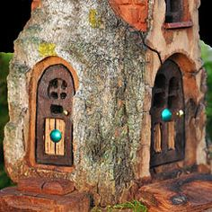 Forest Fairy Tree House, Small do this to dead tree up by road Fairy Tree Houses, Fairy Village, Fairy Garden Houses, Gnome Garden, Forest Fairy, Fairy Land, Fairy Furniture, Gnome House, Fairy Doors