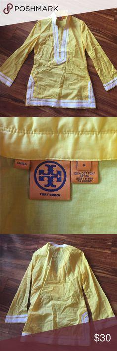Tory Burch tunic top size 6 like new yellow Tory Burch tunic top size 6 bright yellow and white Tory Burch Tops Tunics