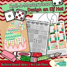 Design an Elf Hat Game: Decorate your bulletin board with these creative elf hats. Fill up your art sub plan folder with no-prep, fuss-free art projects that pair well with other Christmas activities.