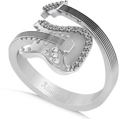 Allurez Diamond Accented Guitar Music Fashion Ring 14k White Gold... ($1,330) ❤ liked on Polyvore featuring jewelry, rings, diamond accent jewelry, wrap-around rings, 14 karat white gold ring, diamond accent rings and allurez jewelry