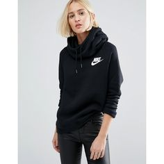 Nike Pullover Hoodie In Black With Small Futura Logo (€57) ❤ liked on Polyvore featuring tops, hoodies, black, nike pullover, pullover hoodies, cotton pullover hoodie, sweater pullover and pullover hoodie