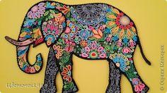 Schilderij muurschildering tekenen Elephant Paper Quilling bandfoto 1