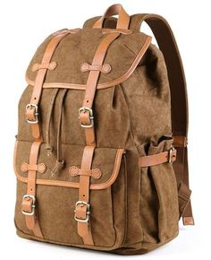 9f71eee50f36 100% cotton backpack with leather straps Vintage Backpacks