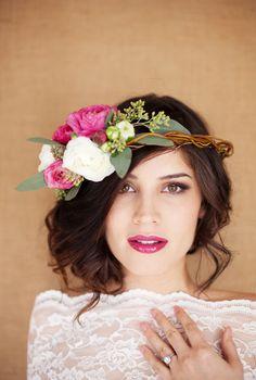 flower crowns, wedding hairs, pink lips, lip colors, wreath, hairstyl, fresh flowers, bride, floral crowns