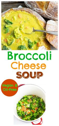 A classic favorite, broccoli cheese soup was one dish I missed after going dairy-free, so I worked hard to come up with this deliciously satisfying vegan version that is loaded with flavor by the spoonful. Vegan Dinner Recipes, Delicious Vegan Recipes, Vegan Dinners, Whole Food Recipes, Fall Recipes, Diet Recipes, Vegetable Soup Recipes, Veggie Soup, Vegan Soups