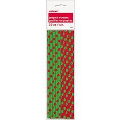 Polka Dot Paper Straws, 10ct