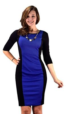 066b37d34c41 Peach Couture 34 Sleeves Chic Printed Work Business Party Sheath Slimming  Dress Blue Black L *