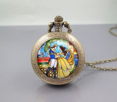 Beauty and the Beast Pocket Watch Locket Necklace,Flowers Rose,vintage pendant Pocket Watch Locket Necklace