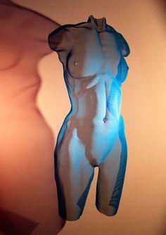 Mesh sculpture CHROMB 2015 - painted bronze-mesh, unique - a female figure artwork by David Begbie, unique.
