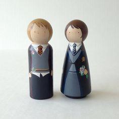 Custom Harry Potter Peg Dolls Wedding Cake Topper