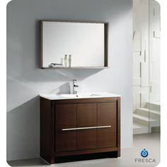 Fresca Allier 40-inch Wenge Brown Modern Bathroom Vanity with Mirror   Overstock.com