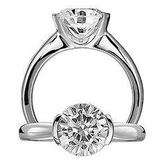 half bezel solitaire engagement ring