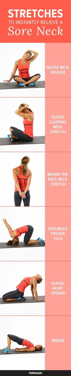 If you have a sore neck from sitting at your desk all day, these stretches work wonders at relieving the tension.
