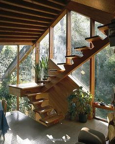 * Walstrom House, Los Angeles, 1969. Stairs in dining area. Architect: John Lautner. Absolutely stunning!!!