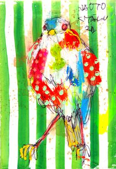 naoto kitamura 11924 Nature Sketch, Nature Artists, Abstract Animals, Ap Art, Japanese Artists, Art Journal Inspiration, Ink Painting, Painting Patterns, Bird Art