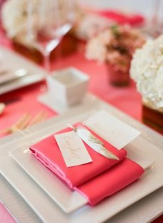 Bridal Shower Celebration | White Peacock Events | @whitepeacockstyle | Liz Banfield Photography :: Pink table Setting :: Name cards