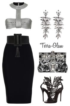 """""""Ice Sickles"""" by terra-glam ❤ liked on Polyvore featuring Roland Mouret, Dolce&Gabbana, Yves Saint Laurent, R.J. Graziano and Giuseppe Zanotti"""