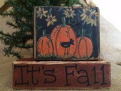 Primitive Country Sunflowers Pumpkins Crow It's Fall Shelf Sitter Wood Block Set #CountryPrimtive