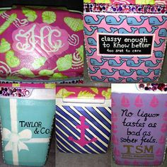 Hand painted sorority cooler, lilly pulitzer vineyard vines uh possibly spring break cooler??