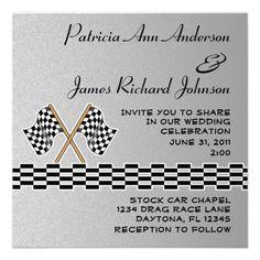 Checkered Flag Racing Wedding Invitation! Need these!