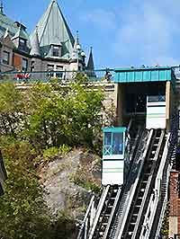 This is The Funicular that connects the lower city to the upper city of Quebec City, in Quebec, Canada!  I had the pleasure of riding in when I was there on a French Club trip, summer 1981.