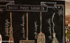 The names of the brooms are a little tricky to read, but we have the Haunted Hog, Frightful Flyer, Cauldron Lowrider, Swift Sweeper, and The Wicked Witch.  Hocus Pocus Broom Co. - Inspired by Charm
