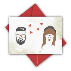 Hipster Hochzeitskarte. Gibt's bei Etsy.