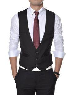 Black Vest, White Shirt, Dark Red Tie