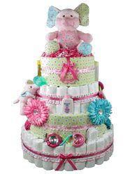 Blooming Elephant Baby Girl Diaper Cake