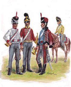 Trompetas de los Regimientos Cazadores de Numancia, Dragones del Rey y Húsares de Iberia. En segunda fila y a caballo, granadero del Regimiento Dragones de Pavía.