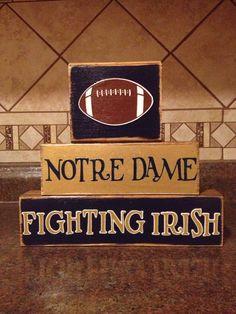 Notre Dame Fighting Irish Football Wood Block Decor by BreezyBarn. Go Irish Notre Dame Football, Nd Football, Football Crafts, Football Decor, Football Season, College Football, Irish Fans, Go Irish, Modern Restaurant