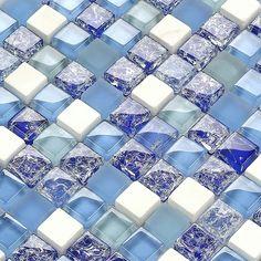 crackle glass stone glass mosaic backsplash tile kitchen bathroom