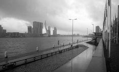 Het is helaas niet altijd zonnig in Rotterdam. Regen gooit nog al eens roet in het eten. Gelukkig levert dat soms ook mooi plaatjes op, zoals hier aan de Maasboulevard met uitzicht op de Erasmusbrug.  http://dicht.by/a4090348