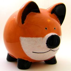 Fox Piggy Bank Personalized Piggy Bank Woodland by ThePigPen