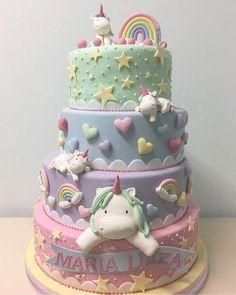 Unicorn cake- great first birthday cake Pretty Cakes, Cute Cakes, Beautiful Cakes, Amazing Cakes, Baby Cakes, Girl Cakes, Fondant Cakes, Cupcake Cakes, Sweets Cake