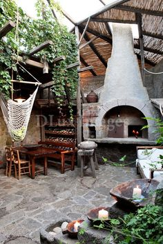 ... with a rustic outdoor kitchen