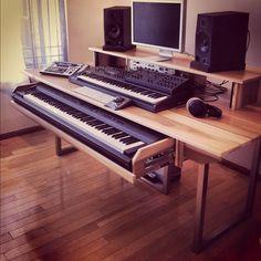 Esto sería lo ideal. Un escritorio que consista de 3 niveles: el de más abajo, retraíble y con el piano largo; el del medio, fijo y con el teclado mediano, junto al mouse y al teclado de la computadora; y el de arriba, con la pantalla y los parlantes. 3 Detalles: primero, que necesitaría dos pantallas en lugar de una; segundo, que el nivel del medio podría prolongarse para que el escritorio continúe de largo; y tercero, debe haber poca distancia entre mi cara y las pantallas.