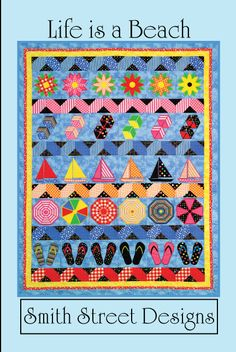 Life is a Beach Quilt Pattern with Embroidery CD By Smith Street Designs - websites advertising Machine Embroidery Quilts, Machine Embroidery Projects, Machine Quilting, House Quilts, Baby Quilts, Mini Quilts, Beach Themed Quilts, Coastal Quilts, Nautical Quilt