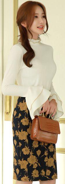 StyleOnme_Floral Jacquard H-Line Skirt #floral #pencilskirt #feminine #koreanfashion #kstyle #kfashion #seoul #falltrend