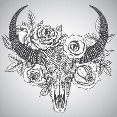 outline longhorn skull tattoo women - Google Search