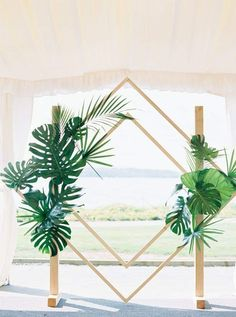 Destination Wedding Event Planning Ideas and Tips Palm Wedding, Floral Wedding, Dream Wedding, Modern Tropical, Tropical Decor, Tropical Interior, Tropical Wedding Decor, Tropical Flowers, Diy Wedding Backdrop