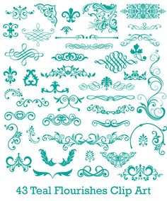 INSTANT DOWNLOAD - 43 Digital Teal Flourishes for Scrapbooking Cards Commercial Use - 43 Pieces - PNG Files - flourishset007 on Etsy, $2.99