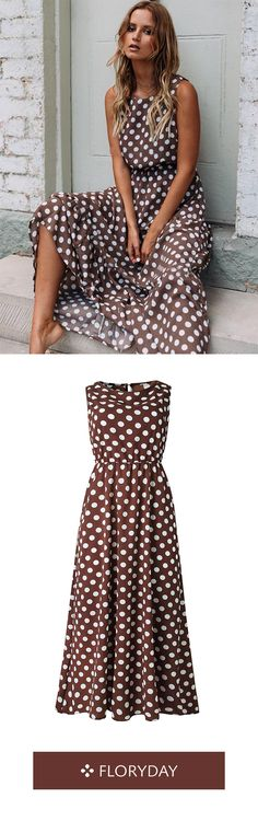 Polka dot sleeveless maxi X-line dress, gorgeous, spring. Tutu Rock, Dresses For Sale, Summer Dresses, Summer Maxi, Affordable Dresses, Buy Dress, Women's Fashion Dresses, Dress Collection, African Fashion