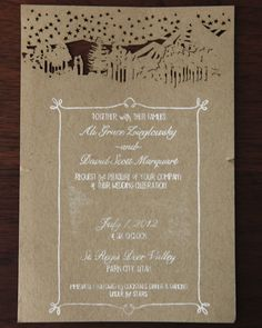 Rustic chic wedding invitation - dancing under the stars