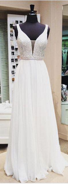 #SexyPromDresses #EveningDresses #New #Fashion #PromGowns #ElegantPromDress #Princess #PromDresses #Chiffon #EveningGowns #White #Formal Dress #WhiteEveningGown
