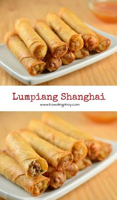 Lumpiang Shanghai filled with ground chicken, water chestnuts, and green onions. Golden, crisp and in fun bite-size, these Filipino meat spring rolls are absolutely addicting! via food recipes Filipino Recipes, Asian Recipes, Filipino Food, Lumpia Recipe Filipino, Filipino Egg Rolls, Comida Filipina, Asian Cooking, Cooking Oil, Cooking Light
