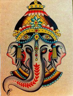 SRI GANESHA - Watercolor on board -Robert Ryan