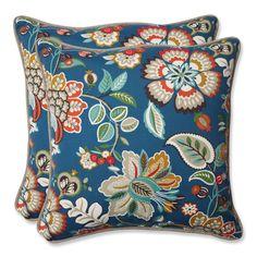 Pillow Perfect Outdoor Telfair Peacock 18.5-inch Throw Pillow (Set of 2)