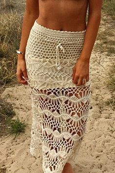 Crochet Solid Color High Waisted Skirt OFF-WHITE: Skirts   ZAFUL